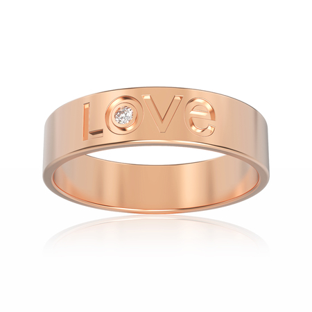 3D illustration isolated rose gold engagement ring with diamond and love word with reflection on a white background