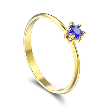 3D illustration isolated yellow gold traditional solitaire engagement diamond ring with blue sapphire with shadow on a white background