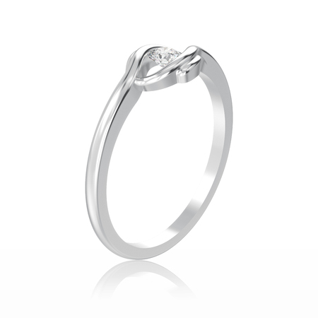 platinum: 3D illustration isolated white gold or silver engagement illusion twisted ring with diamond with reflection on a white background