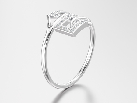 platinum: 3D illustration white gold or silver engagement decorative diamond ring with reflection and shadow on a grey background