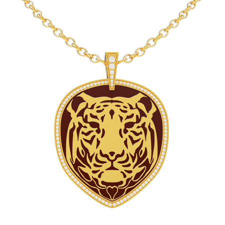 3D illustration isolated gold necklace tiger with diamonds on a chain on a white background