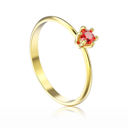 3D illustration isolated yellow gold traditional solitaire engagement red ruby ring with reflection on a white background Stock Photo
