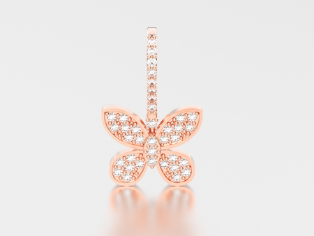 3D illustration rose gold decorative diamond butterfly earring with reflection and shadow on a grey background Stock Photo