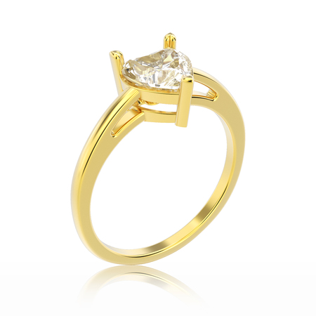3D illustration isolated yellow gold engagement ring with diamond heart with reflection on a white background Stock Photo