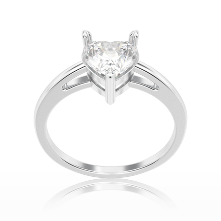 3D illustration isolated white gold or silver engagement ring with diamond heart with reflection on a white background