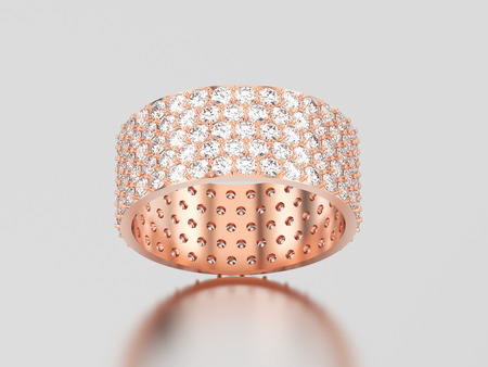3D illustration rose gold engagement pave setting with five tiers of round stones ring with diamonds with reflection and shadow on a grey background Stockfoto - 96757197
