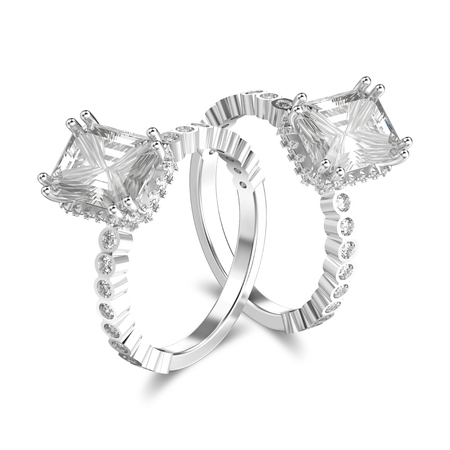 3D illustration two isolated white gold or silver diamonds decorative rings with shadow on a white background