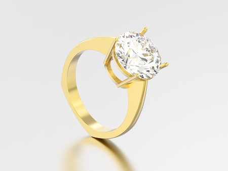 3D illustration yellow gold engagement euro style ring with diamond with reflection and shadow on a grey background