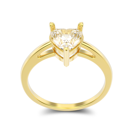 shiny hearts: 3D illustration isolated yellow gold engagement ring with diamond heart with shadow on a white background