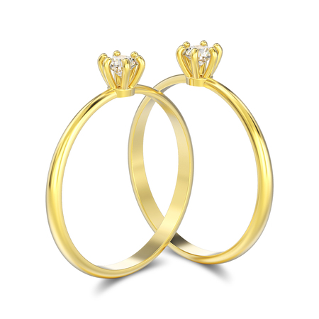 3D illustration two isolated yellow gold traditional solitaire engagement diamond rings with shadow on a white background Stock Photo