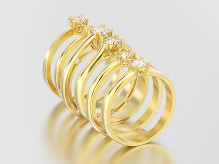 Ilustración 3D cinco oro amarillo diferentes anillos de diamantes de compromiso de solitario tradicional con sombra y reflexión sobre un fondo gris Foto de archivo