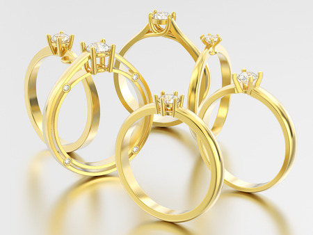 3D illustration six yellow gold different traditional solitaire engagement diamond rings with shadow and reflection on a grey background Stock Photo