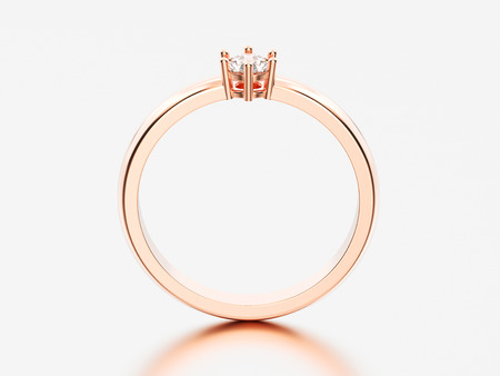 3D illustration rose gold traditional solitaire engagement diamond ring with shadow and reflection on a grey background Stock Photo