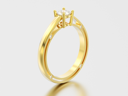3D illustration yellow gold decorative solitaire engagement diamond ring with shadow and reflection on a grey background