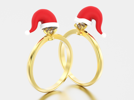 3D illustration two yellow gold solitaire engagement diamond ring in the Christmas Santa Claus hat on a grey background Stock Photo