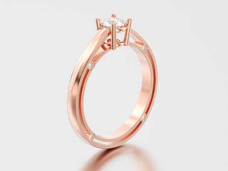 3D illustration rose gold decorative solitaire engagement diamond ring with shadow and reflection on a grey background