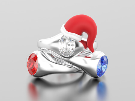 3D illustration three white gold or silver solitaire engagement diamond ring in the Christmas Santa Claus hat on a grey background