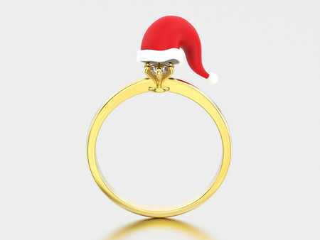 3D illustration yellow gold solitaire engagement diamond ring in the Christmas Santa Claus hat on a grey background