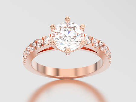 platinum: 3D illustration rose gold solitaire engagement diamond ring with shadow and reflection on a grey background
