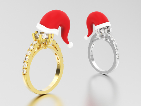 3D illustration two white gold or silver and yellow gold solitaire engagement diamond rings  in the Christmas Santa Claus hat on a grey background