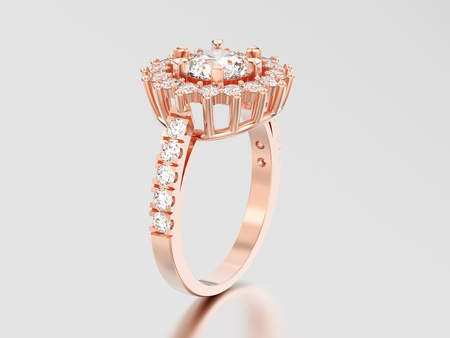 3D illustration rose gold solitaire decorative diamond ring with shadow and reflection on a grey background