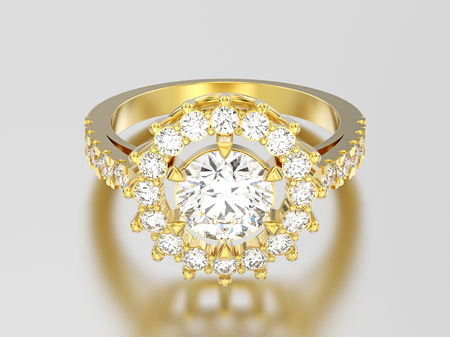 3D illustration yellow gold solitaire decorative diamond ring with shadow and reflection on a grey background