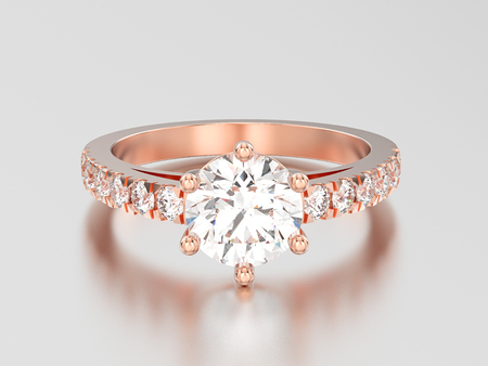 3D illustration rose gold solitaire engagement diamond ring with shadow and reflection on a grey background