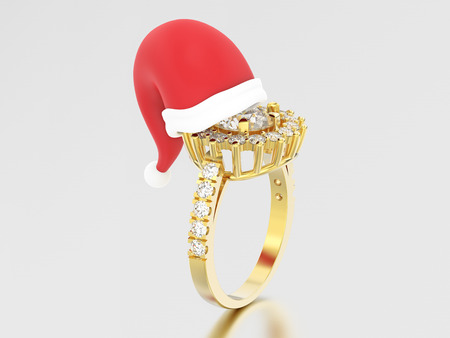 3D illustration yellow gold solitaire decorative diamond ring in the Christmas Santa Claus hat on a grey background