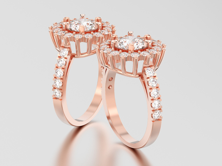 3D illustration two rose gold solitaire decorative diamond rings with shadow and reflection on a grey background