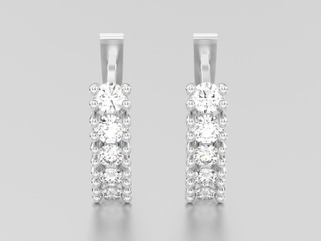 diamond earrings: 3D illustration two white gold or silver decorative diamond earrings with english lock on a grey background