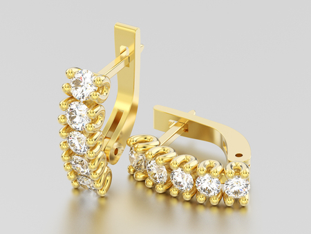 3D illustration two yellow gold decorative diamond earrings with english lock on a grey background Stock Photo