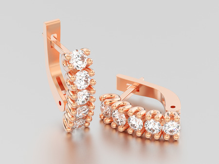 3D illustration two rose gold decorative diamond earrings with english lock on a grey background