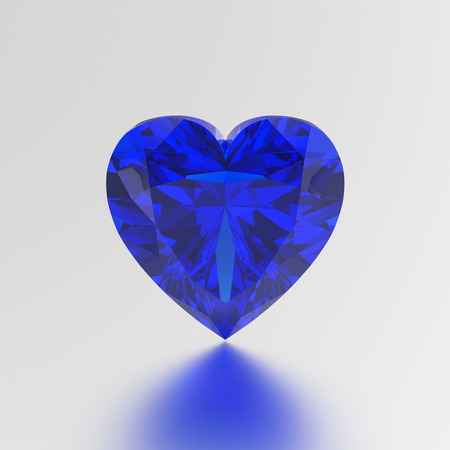 3D illustration blue diamond heart stone on a grey background