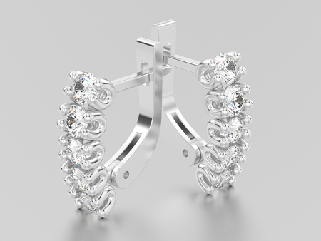 lock symbol: 3D illustration two white gold or silver decorative diamond earrings with english lock on a grey background