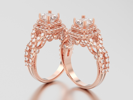 3D illustration two rose gold elegant solitaire decorative diamond rings with shadow and reflection on a grey background Stock Photo