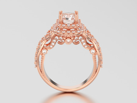 3D illustration rose gold elegant solitaire decorative diamond ring with shadow and reflection on a grey background Stock Photo
