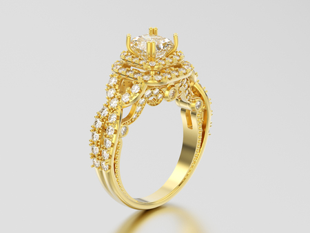 3D illustration yellow gold elegant solitaire decorative diamond ring with shadow and reflection on a grey background