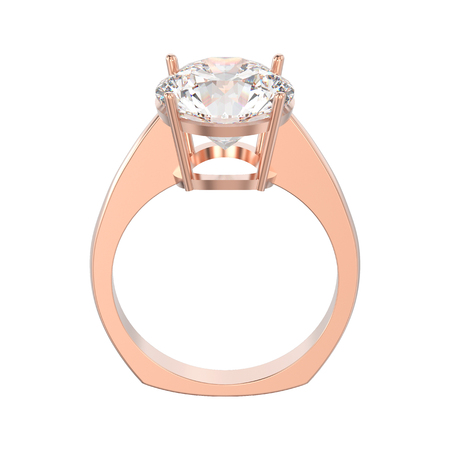 3D illustration isolated rose gold engagement euro style ring with diamond on a white background