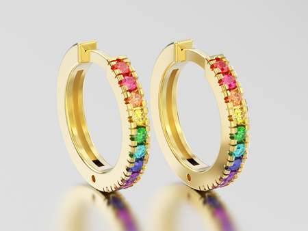 3D illustration yellow gold decorative earrings hinged lock with colorful diamonds on a grey background Фото со стока