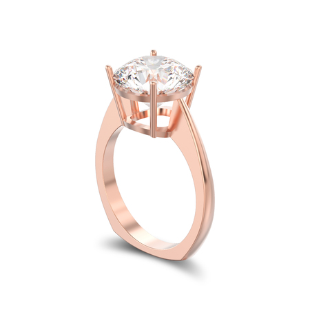 3D illustration isolated rose gold engagement euro style ring with diamond with shadow on a white background