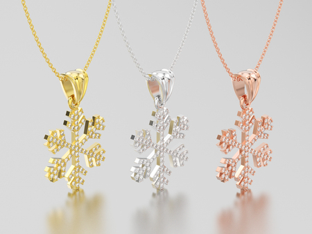 3D illustration three rose, yellow and white gold diamond snowflake necklace and chain on a grey background