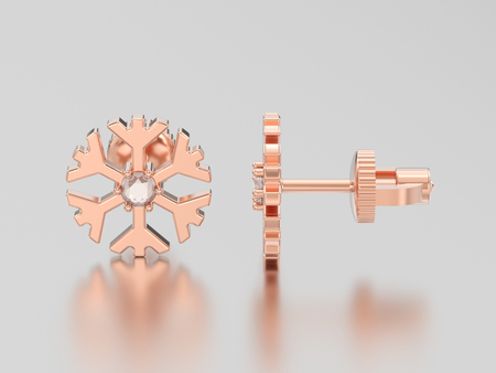 3D illustration rose gold diamond snowflake stud earrings on a grey background