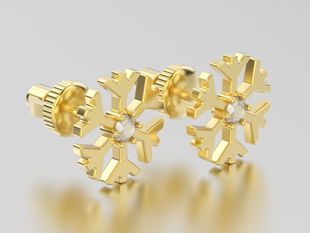 3D illustration yellow gold diamond snowflake stud earrings on a grey background