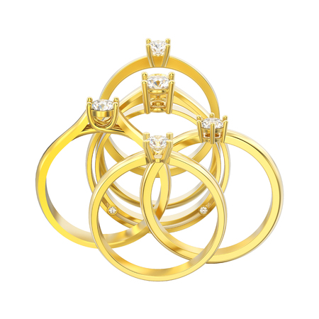 3D illustration isolated six yellow gold different traditional solitaire engagement diamond rings on a white background