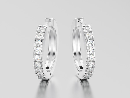 diamond earrings: 3D illustration white gold or silver decorative diamond earrings hinged lock on a grey background Stock Photo