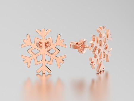 diamond earrings: 3D illustration rose gold snowflake stud earrings on a grey background