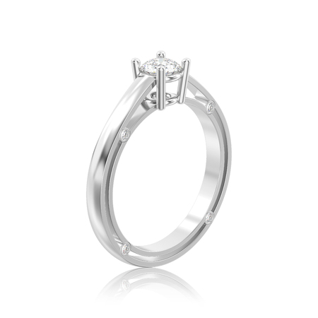 3D illustration white gold or silver decorative solitaire engagement diamond ring with reflection on a white background