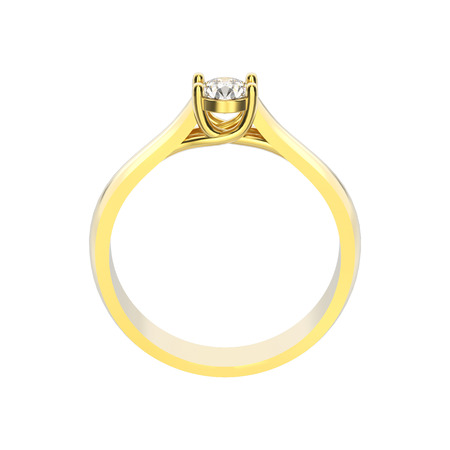 3D illustration isolated yellow gold engagement decorative ring with diamond on a white background
