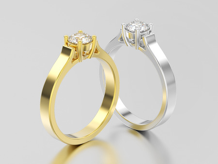 3D illustration two yellow and white gold or silver solitaire engagement diamond rings with shadow and reflection on a grey background