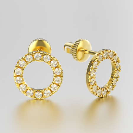 3D illustration yellow gold diamond round stud earrings on a grey background